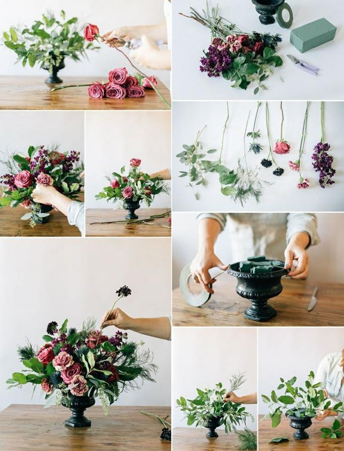 Tischdeko Selber Machen, Blumen Arrangieren, Rosen, Steckschwamm, Tisch  Dekorieren