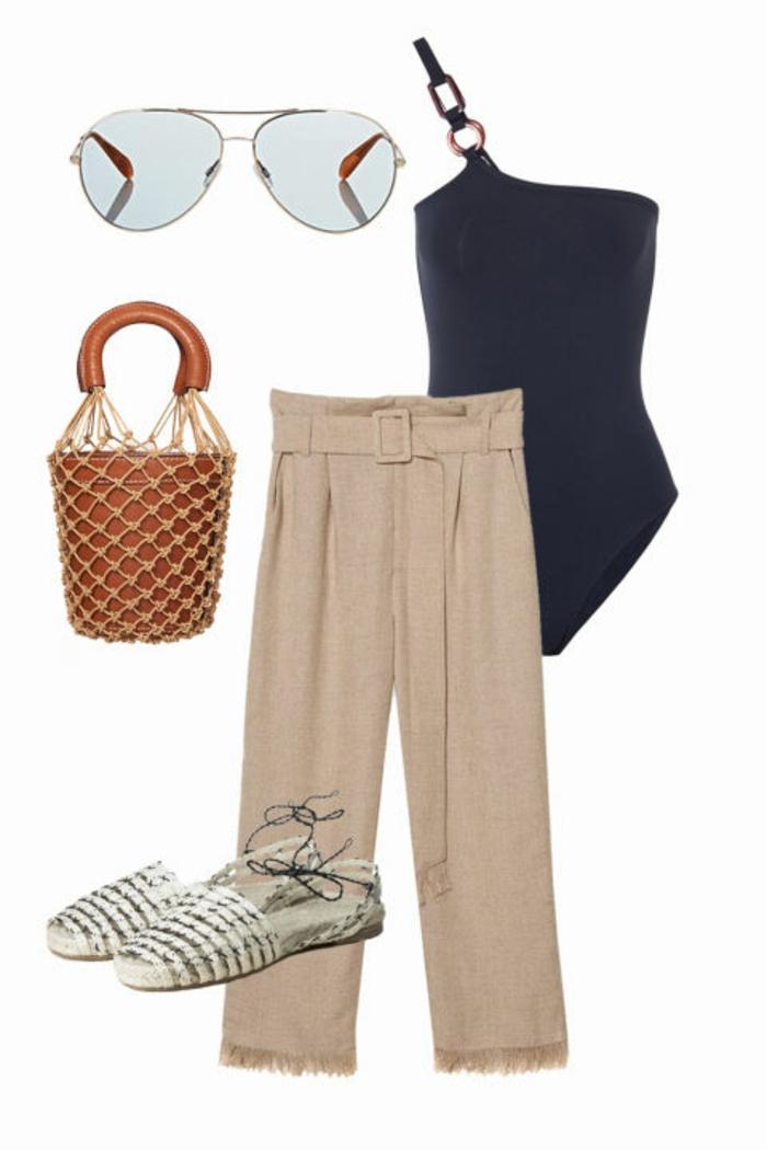 Strandoutfit, Sommer 2017, Frauenoutfit, lange Leinenhose, schwarzer Einzelstück-Badeanzung, Macrame-Tasche, Espadrilles