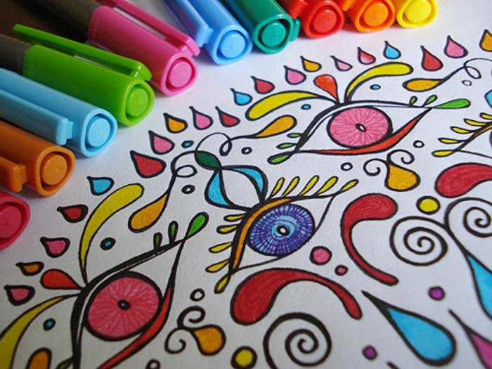 Mandal mit Farbstiften ausmalen, Tropfen, Augen, Augen malen, Farbstift-Set, verschiedene Farben