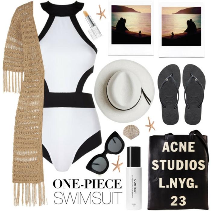 Strandmode, Sommer 2017, schwarz-weißer Badeanzug, Strickjacke in Beige, weißer Hut, schwarze Flip-Flops, Katzenbrille