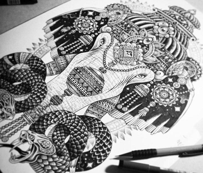 kleine Mandalas, integriert in eine schwarz-weiße Zeichnung, Elefantenzeichnung mit zwei Schlangen