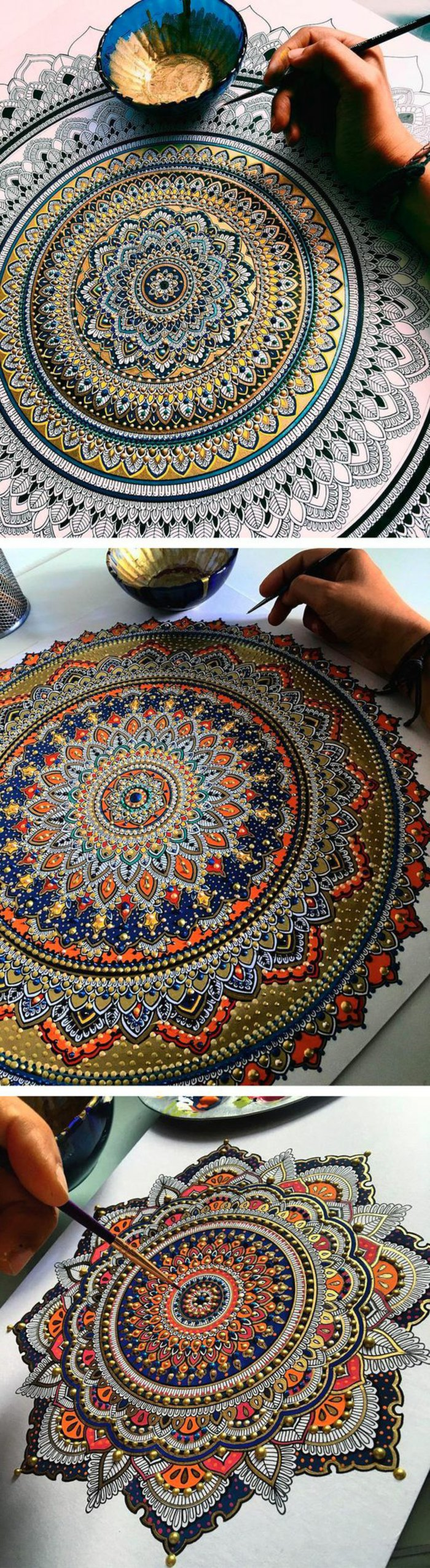 riesige Mandalas mit Wasserfarben ausmalen, verschiedene Mandalas mit verschiedenen Farben