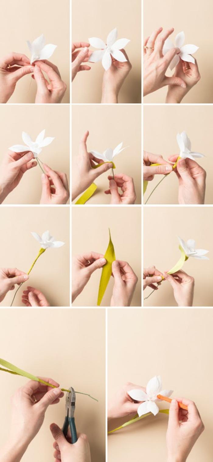 weiße blume aus krepppapier selber machen, papierblumen basteln