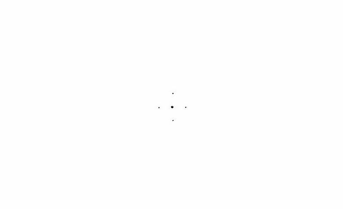 Mandala malen, Anleitung, vier kleine Punkte auf einem Blatt mit schwarzem Bleistift zeichnen, ein großer Punkt