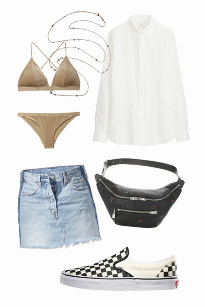Strandoutfit für Frauen, weißes Seidenhemd, Samt-Bikini, schwarze Taille-Tasche, Denim-Rock, Bauchkette