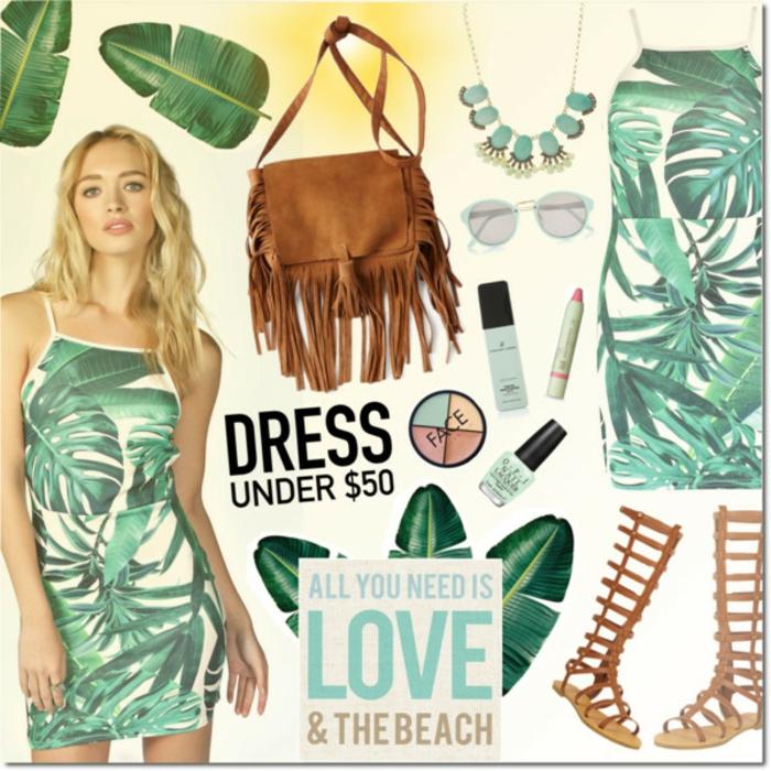 Strandmode Damen, Kleid mit grünem Blätter-Print, Römer Sandalen in Braun, Velourstasche für Frauen