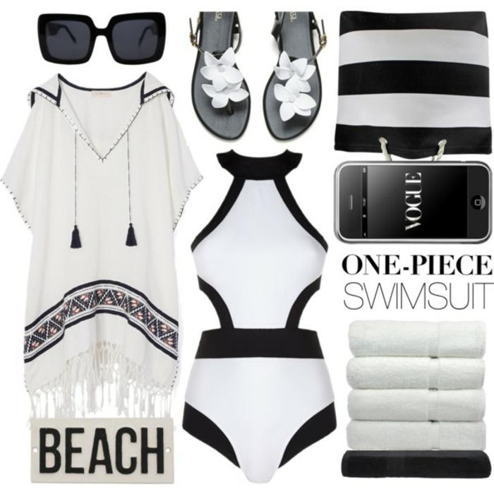 Strandmode Damen, weiße Tunika mit Troddeln und einer Kaputze, Schwimmanzug-Einzelstück, Tasche mit weißen Streifen