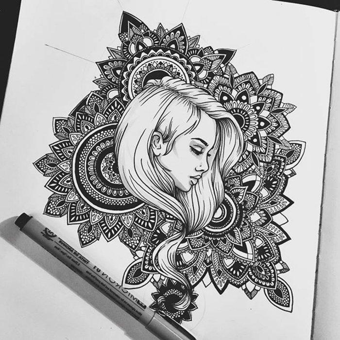 Zeichnung mit einem Mädchen mit langen glatten Haaren, Haare hinter dem Ohr, Mandala-Hintergrund
