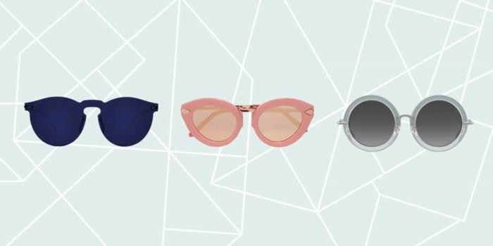 Strandoutfits 2017, Sonnenbrille mit runder Form, Katzenaugen-Brille, Brille mit farbigen Rahmen