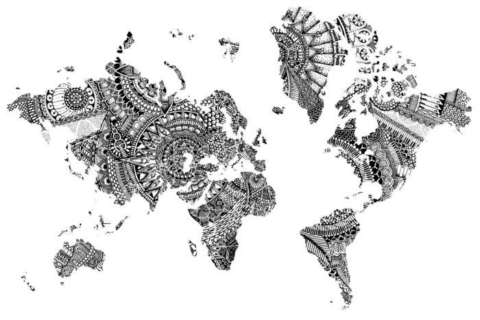 schwarz-weiße Weltkarte aus kleinen Mandalas, die Kontinente, alle Meeren und Ozeane in der Welt