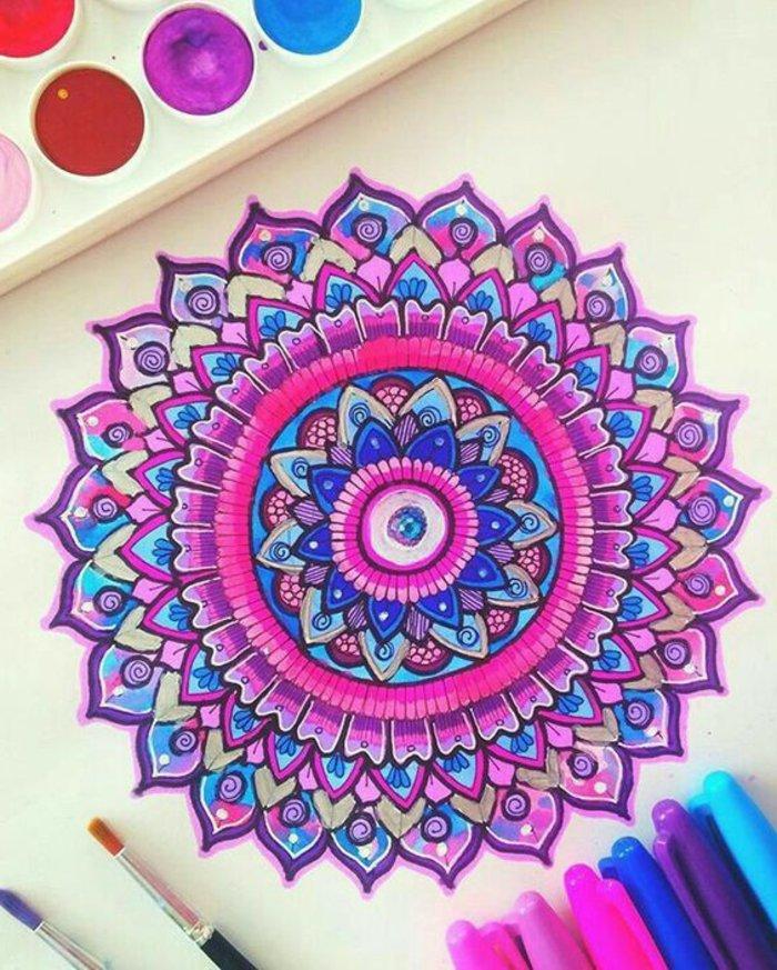 Zeichnung mit Wasserfarben und Farbstiften, weißer Hintergrund, zwei Pinsel mit Echthaar