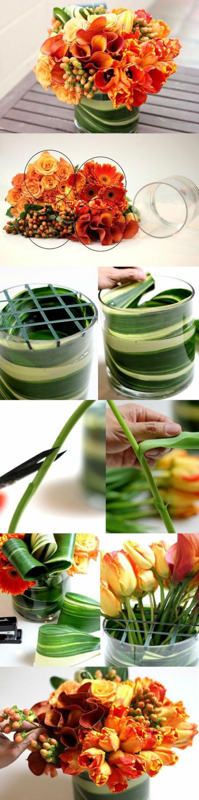 tischdeko selber machen, glasvase mit orangen blumen und grünen blättern verzieren