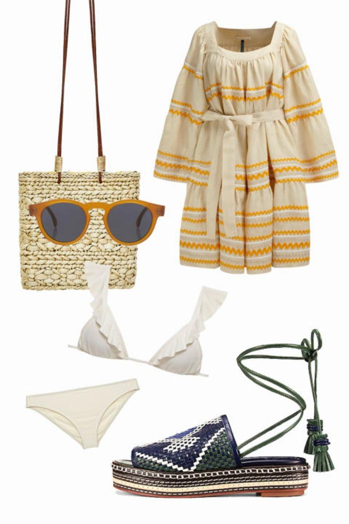 Strandoutfit, Flechttasche, Kleid in Beige mit Streifenmuster, Gürtel, weiße Bikini, Plattform-Schuhe