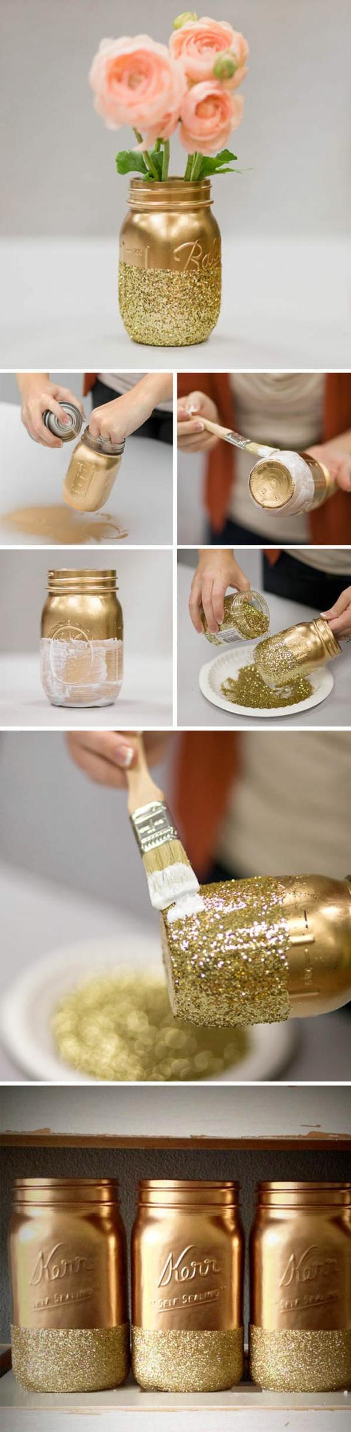 tischdeko selber machen, vase aus einmachglas dekoriert mit goldener sprayfarbe und glitzer