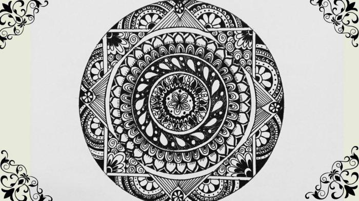 Mandala Vorlagen zum Ausmalen mit komplizierten Details, vilen Kreisen und Quadraten, Blumenmotive