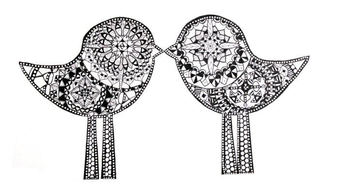 zwei Vögel mit langen Beinen zum Ausmalen, Ausmalbild, Mandala-Eöemente, Kuss, Tierkuss