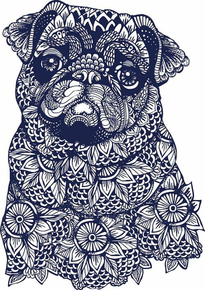 Bilder zum Ausmalen, Mops Hund mit traurigen Augen und traurigem Gesicht, Blumenmotive
