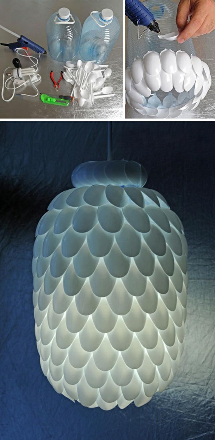 vbasteln mit plastikflaschen, plastiklöffel, diy lampenschirm aus plastik