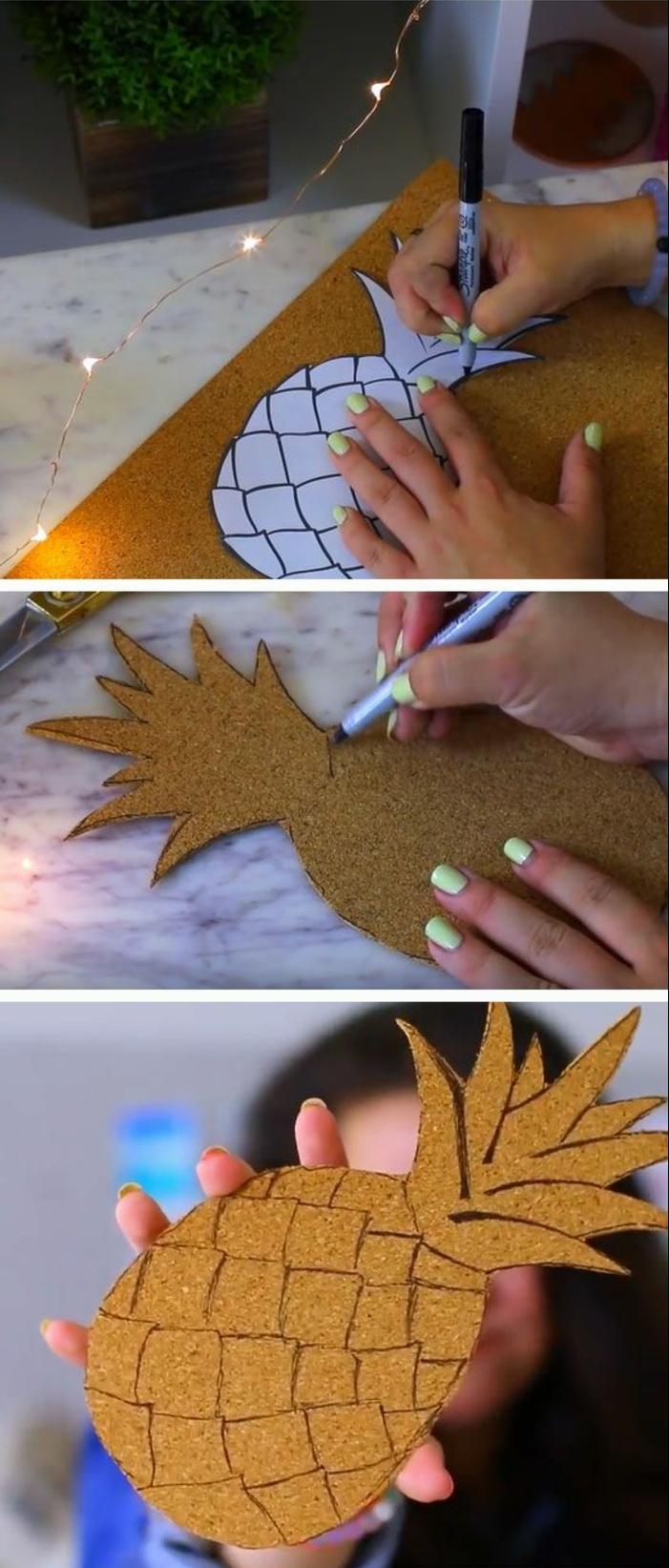pinnwand selber machen, schwarzer marker, cutter, ananas