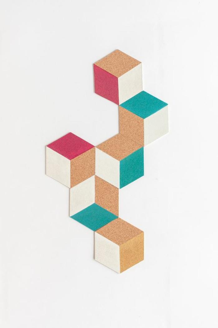pinnwand selber machen, wanddeko aus kork dekoriert mit farbe