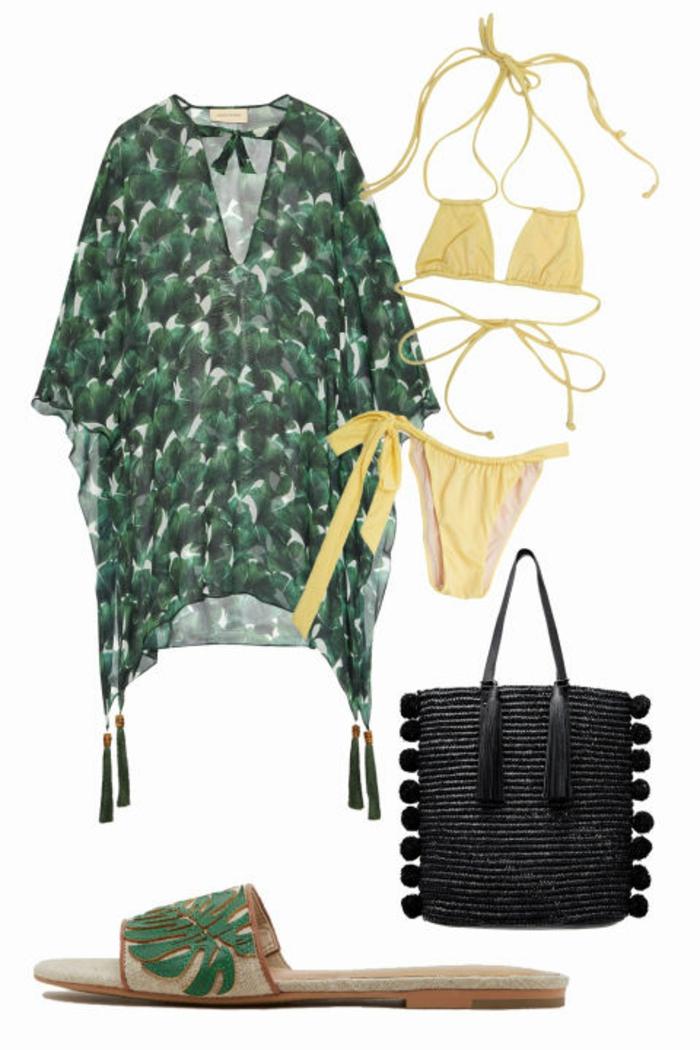 Strandoutfit für Brazilien, grüne Tunika mit Muster, Sommerschuhe mit Blättermotiven, schwarze Flechttasche mit Troddeln, gelbe Bikini