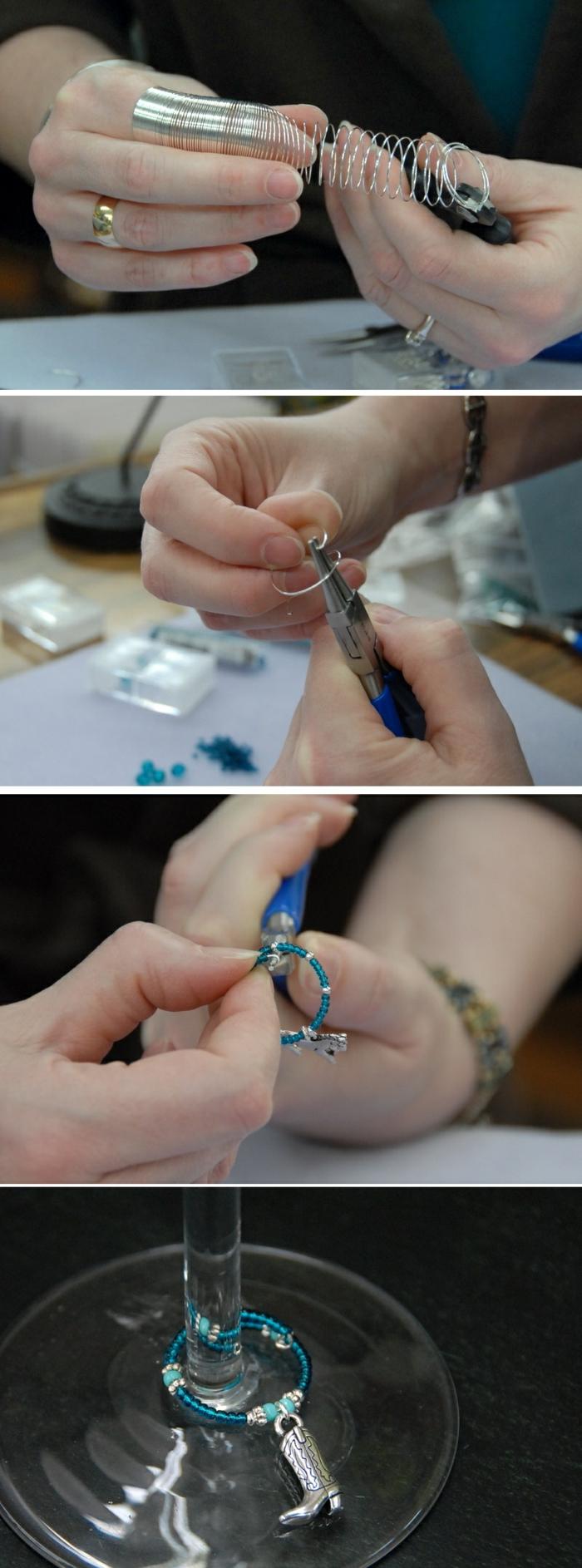 weingläser dekorieren, glasschmuck selber machen aus draht, glasperlen, schmuckzange
