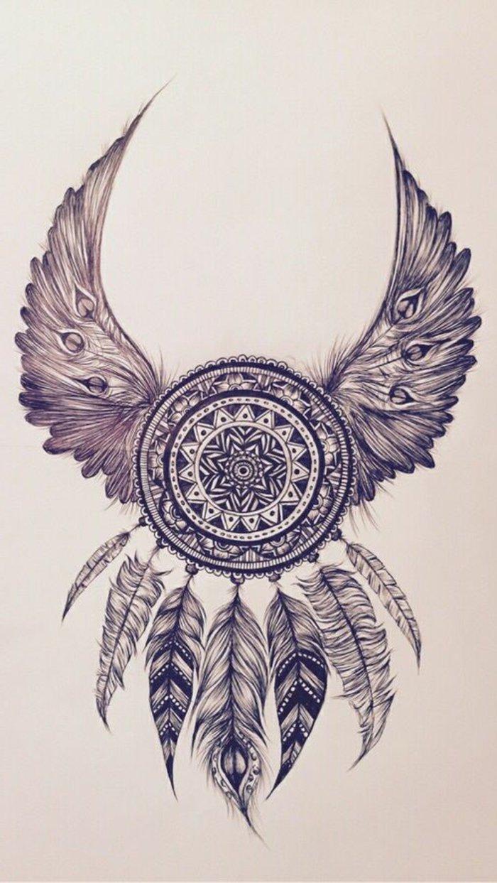 eine Zeichnung von einem Traumfänger mit Federn aus verschiedenen Vögeln und einem kleinen Mandala in der Mitte