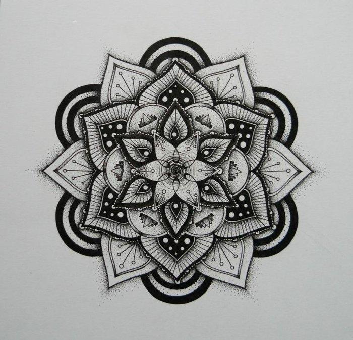 Mandala zum Ausmalen auf grauem Hintergrund, 3-D-Mandalas, 3-D-Effekt, vielschichtig, optische Illusion