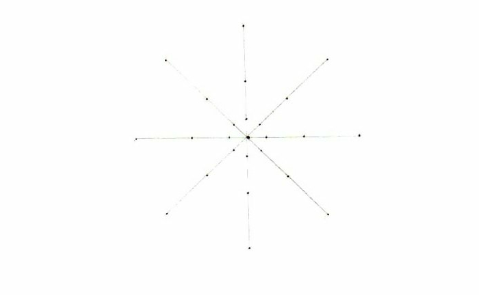 Mandala malen, vier gerade Linien, vier diagonale Linien, Punkte verbinden, Mandala-Grundlinien