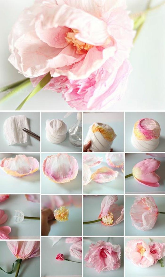 papierblumen basteln, rosa blume aus krepppapier, schere, blumenblätter