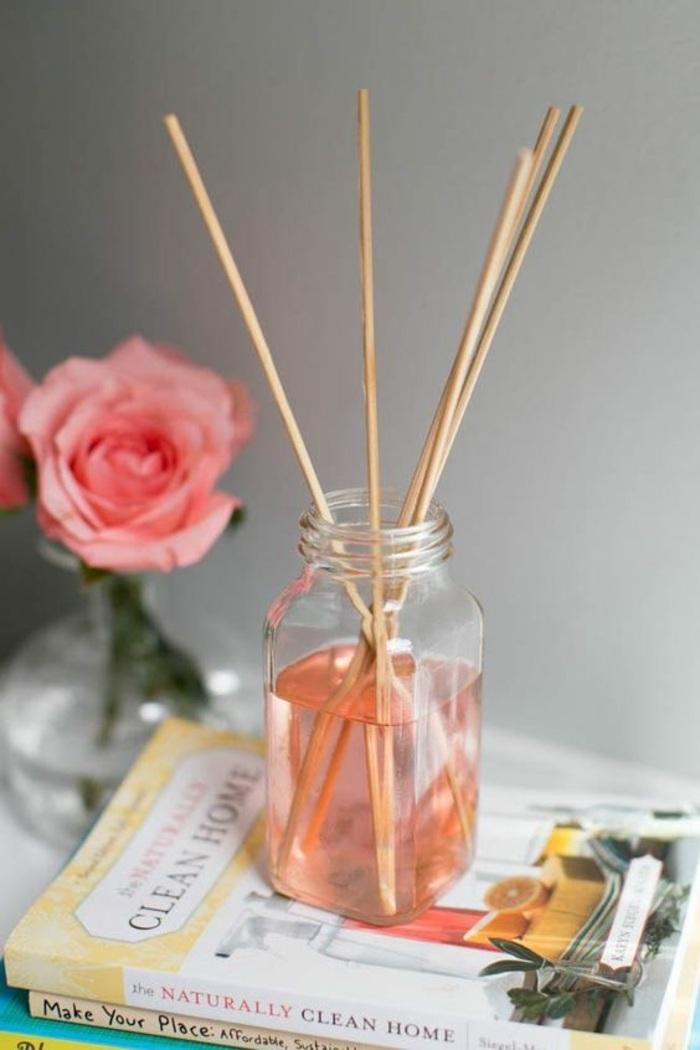 raumduft selber machen, rose, einmachglas, bücher, raumerfrischer