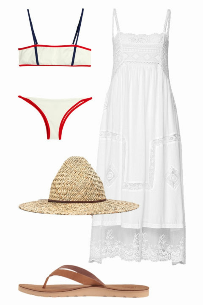 Strandoutfit, weißes Spitzenkleid mit Trägern, braune Leder-Flip-Flops, Strohhut für Damen, sportliche Bikini