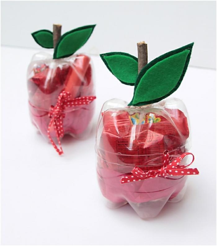 diy boxen aus flaschen, äpfel, kleine geschenke, geschenkverpackung