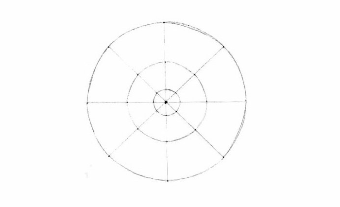 Mandala malen, Grundlinien, drei Kreise mit unterschiedlicher Größe, gerade Linien, Punkte