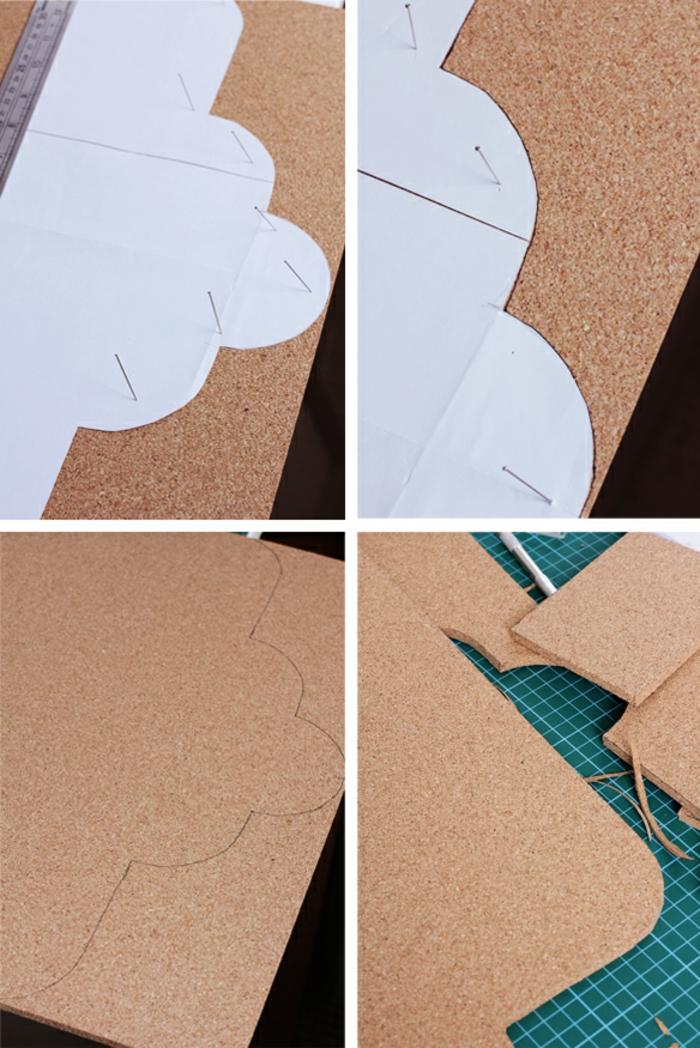 pinnwand selber machen, form auf kork zeichnen und schneiden