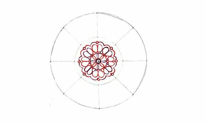 Mandala malen, kreisförmig, Linien radieren, zwei Kreise mit Bleistift malen, Detaile mit Buntstifte malen