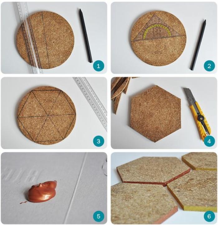 pinnwand selber machen, korkuntersetzer, bleistift, cutter, lineal, goldene farbe