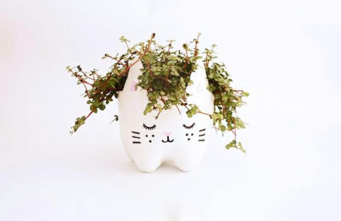 weißer blumetopf-karze aus plastikflsche, pflanze, diy