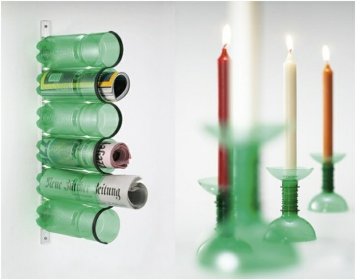 upcycling flaschen,diy kerzenhalter, große kerzen, zeitungen