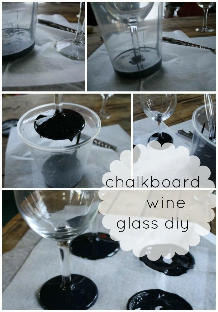 weinglas deko, gläserstiele mit schwarzer farbe färben, plastikbecher
