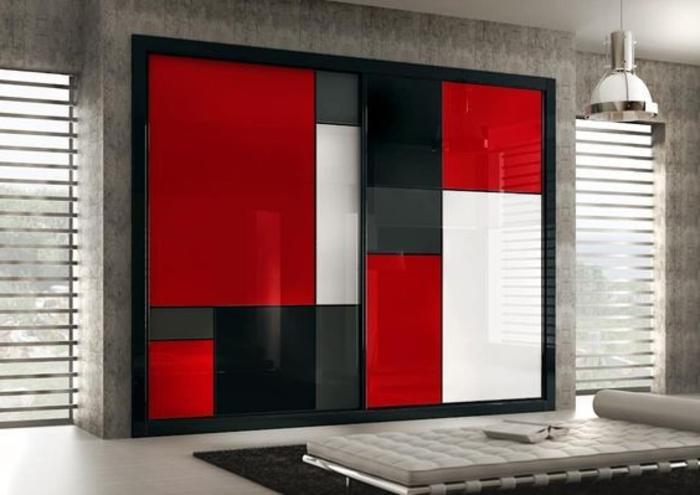eingebaute Wandgarderobe Kleiderschrank Ideen starke Farben