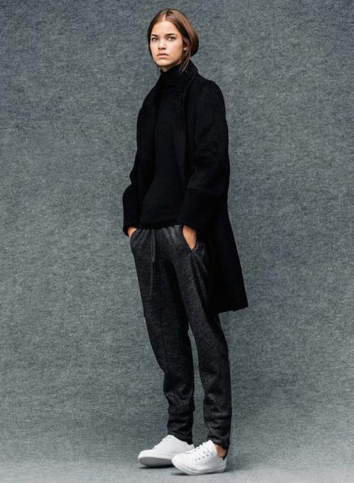 jogginghosen für damen dunkel grau und schwarzer mantel