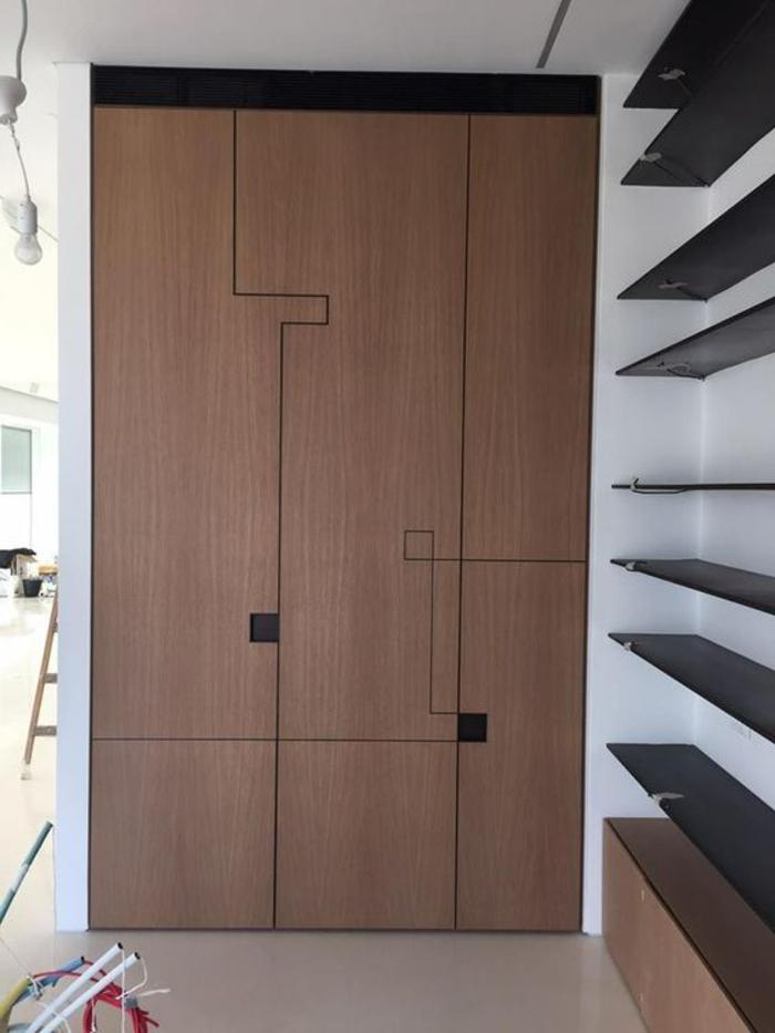 eingebaute Kleiderschrank Ideen Holz-Optik verspielt Regalsystem