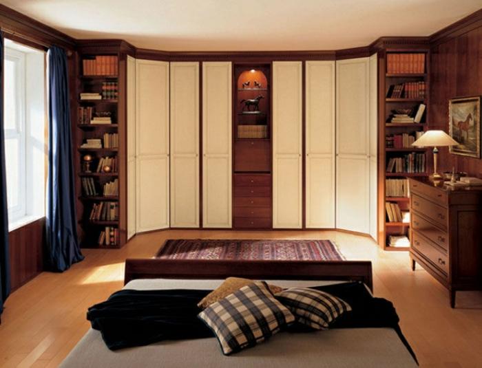 gemütliches Schlafzimmer Kleiderschrank Idee mit Regalsysteme Stauraumfläche