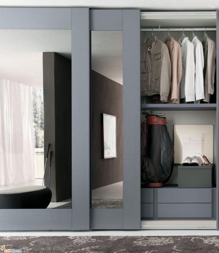 Schiebetür mit Spiegelglas kleiderschrank-systeme ablage-fläche schubladen