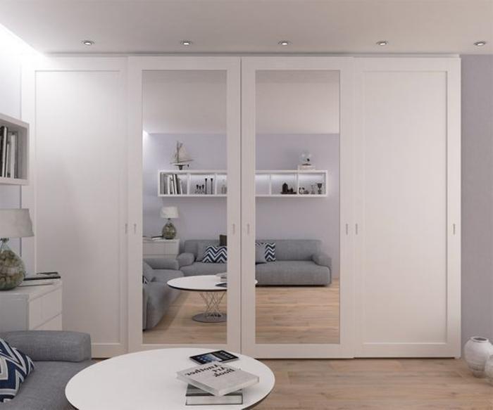 puristisch weiße Kleiderschrank Ideen Spiegel-Element Deckenspot Led-Beleuchtung