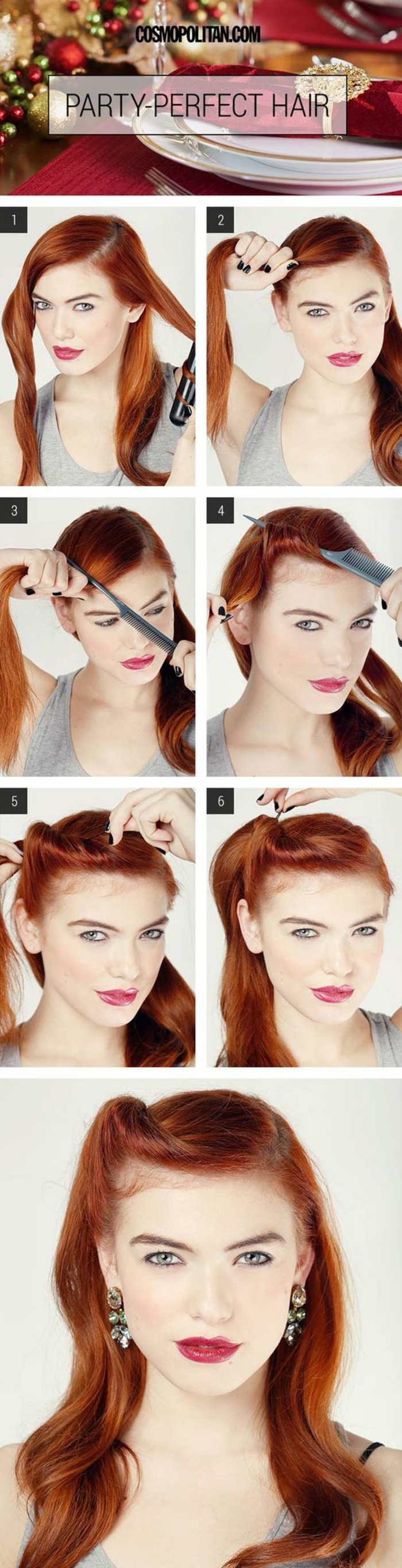 Party-Frisur Schritt-für-Schritt Anleitung für lange Haare, Retro-Frisur mit Haarklammern