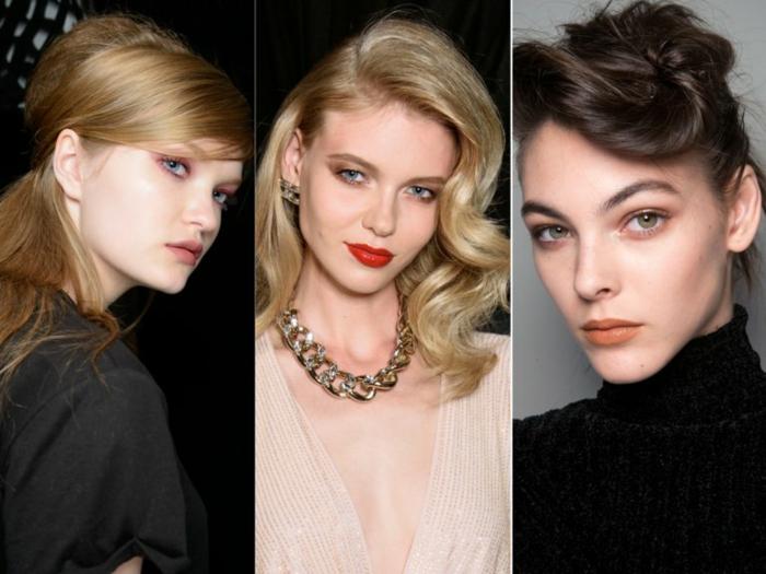 drei Frauen mit coolen Frisuren, naturblonde Frau, Frau mit blondierten Haaren, Frau mit schwarzen Haaren