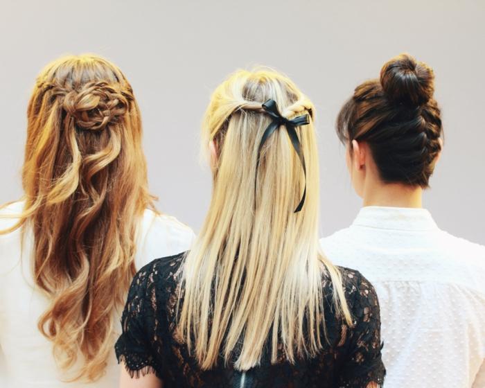 drei verschiedene Abiballfrisuren für gewellte und glatte Haare, Fischschwanz mit Dutt, Frisur mit zwei Zöpfen, Frisur mit schwarzel Schleife