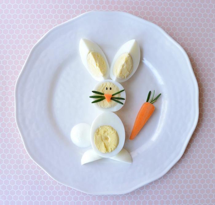 appetit zügeln eine lustige hase springt in den teller karotte lustige ideen essen für kinder zubereiten gesund